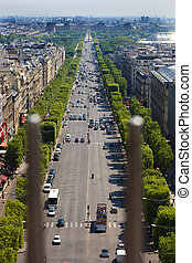 Champs Elysees in Paris, France. - The view from the Arc de...