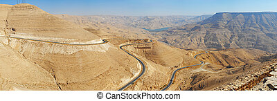 Mountain serpentine canyon of Wadi Mujib in. Jordan....