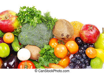 fruits and vegetables - Fresh fruits and vegetables isolated...