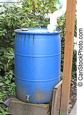 viejo, azul, cisterna
