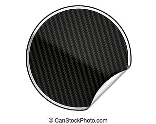 Black textured bent sticker or label over white background