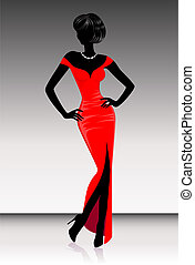 harmonous woman - Silhouette of the harmonous woman on a...
