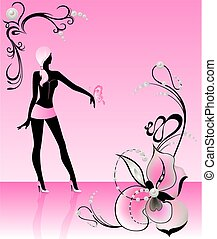 harmonous girl in glamour clothes - Silhouette of the...