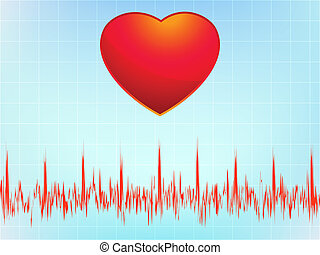 Heart attack electrocardiogram-ecg. EPS 8 vector file...