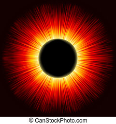 Solar eclipse shine light. EPS 8 vector file included