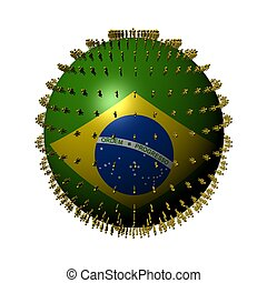 people on Brazil flag sphere - Brazil flag sphere surrounded...
