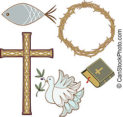 Collection of christian symbols - Collection of 5 different...