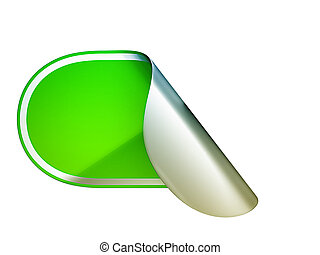 Green rounded bent sticker or label