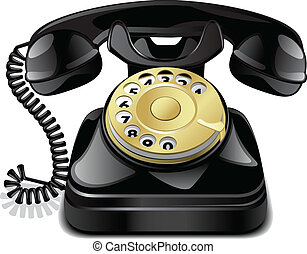 Vector vintage telephone - Vintage telephone isolated on...