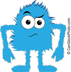 Blue furry monster upset face - artoon blue hairy creature...