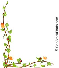 Beautiful framework from leaves and flowers with butterflies