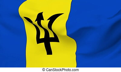 Flag of Barbados - Flag of the Barbados waving in the wind....