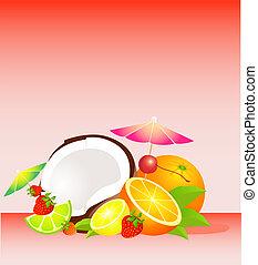 Seasonal varied tropical fruit bask