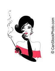 young woman with a cigar