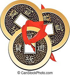 Chinese coin tied with red ribbon A square within a circle...