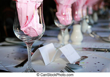 Place settings - place settings at a table with glasses and...