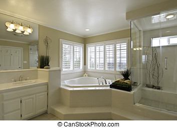 master bathroom - large master bathroom, corner bathtub with...