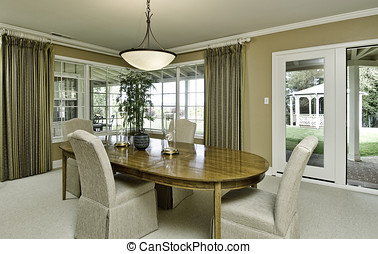 dining room - modern large dining room with corner window,...