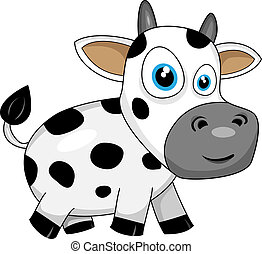 cute happy cow - vector illustration of a cute happy cartoon...