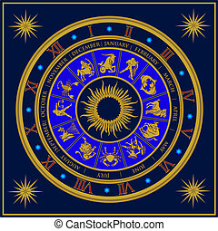 Zodiac - Blue analogue zodiac clock constellation vector...
