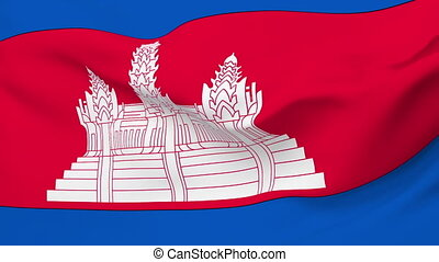 Flag of Cambodia - Flag of the Cambodia waving in the wind...