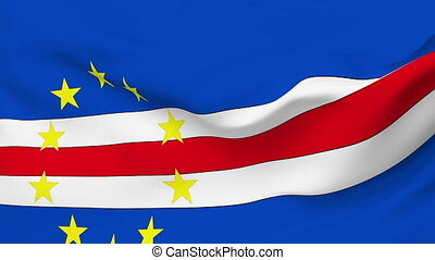 Flag of Cape Verde - Flag of the Cape Verde waving in the...