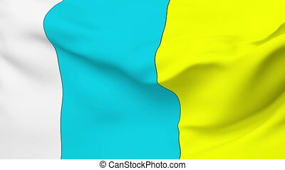Flag of Canary Islands - Flag of the Canary Islands waving...