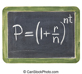 compound interest equation - white chalk handwriting on a...