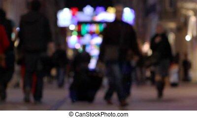 crowd walking at night 3