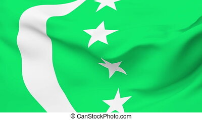 Flag of Comoros - Flag of the Comoros waving in the wind...