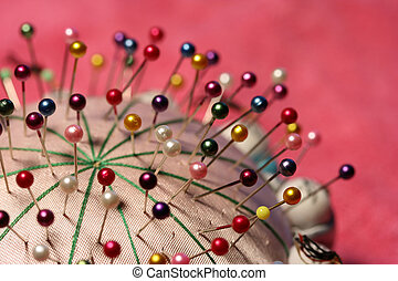 Pincushion - Chinese silk pincushion with colourful pins on...