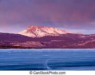 Mt Laurier and Lake Laberge, Yukon Territory, Canada - Blue...