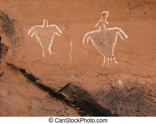 Historic Anasazi Figure Pictograms - Historic Anasazi...