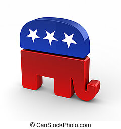 Republican elephant isolated over white background