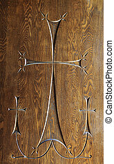 Wood carving of three crosses - Carving of 3 cross with one...