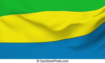 Flag of Gabon - Flag of the Gabon waving in the wind...