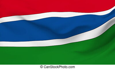 Flag of Gambia - Flag of the Gambia waving in the wind...