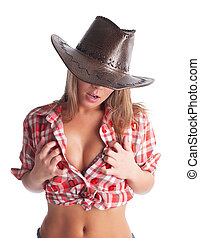sexy young cowgirl put hands on breast - Beauty young...