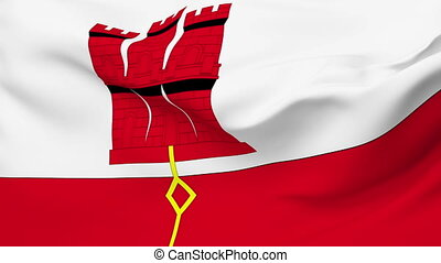 Flag of Gibraltar - Flag of the Gibraltar waving in the wind...