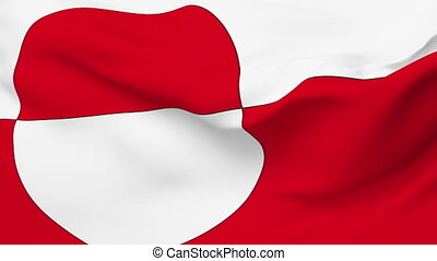 Flag of Greenland - Flag of the Greenland waving in the wind...