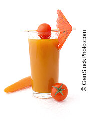 Vegetable juice on white background