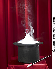magic stovepipe hat - magic scenery with a black top hat and...