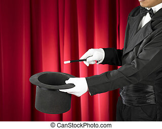 Magician - Hands of the magician with magic wand and top hat...