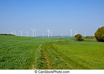Windpark in the green fields in Germany