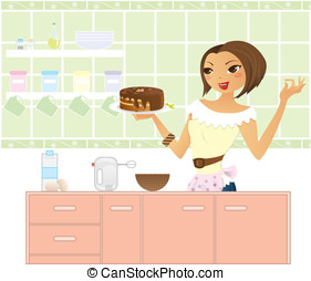 Woman in kitchen making a cake