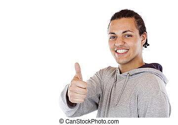 Handsome black coloured teenager holds thumb up.Isolated on...