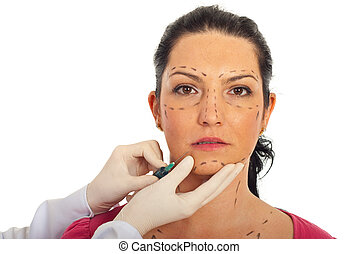 Close up of woman receiving botox injection - Close up of...