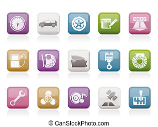 car parts, services and characteristics icons - vector icon...