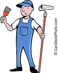 House painter with paint roller paintbrush - illustration of...