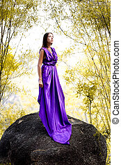 Beautiful Woman dressed lavender dress - Beautiful Woman in...